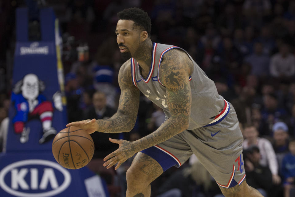 PHILADELPHIA, PA - NOVEMBER 30: Wilson Chandler #22 of the Philadelphia 76ers dribbles the ball against the Washington Wizards at the Wells Fargo Center on November 30, 2018 in Philadelphia, Pennsylvania. NOTE TO USER: User expressly acknowledges and agrees that, by downloading and or using this photograph, User is consenting to the terms and conditions of the Getty Images License Agreement. (Photo by Mitchell Leff/Getty Images)