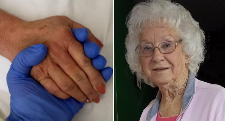 Ms Devereaux's grandmother is pictured, as is an image of the young woman holding her mum's hand in hospital.