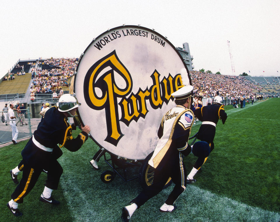 The Purdue Big Bass Drum of the All-American Marching Band of Purdue University, identified as the World's Largest Drum, is pushed onto the field before a college football game between the University of Pittsburgh Panthers and Purdue University Boilermakers at Ross-Ade Stadium on September 20, 1986 in West Lafayette, Indiana. The Pitt Panthers defeated the Boilermakers 41-26.  (Photo by George Gojkovich/Getty Images)