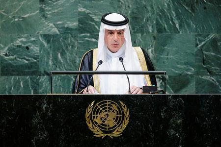 FILE PHOTO: Saudi Arabia's Foreign Minister al-Jubeir addresses the 73rd session of the United Nations General Assembly at U.N. headquarters in New York