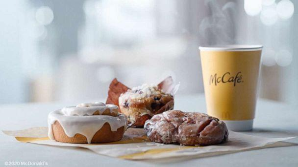 PHOTO: The new bakery lineup from McCafe for McDonald's includes a cinnamon roll, apple fritter and blueberry muffin. (McDonald's )