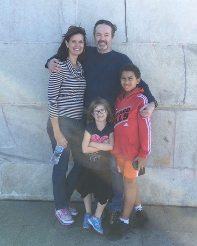 Kelly James, Erik Enger, and their children, Ryan Enger and Haley Enger, at the Washington Monument in Washington, D.C., in October 2015 (Photo: Courtesy of Kelly K. James)