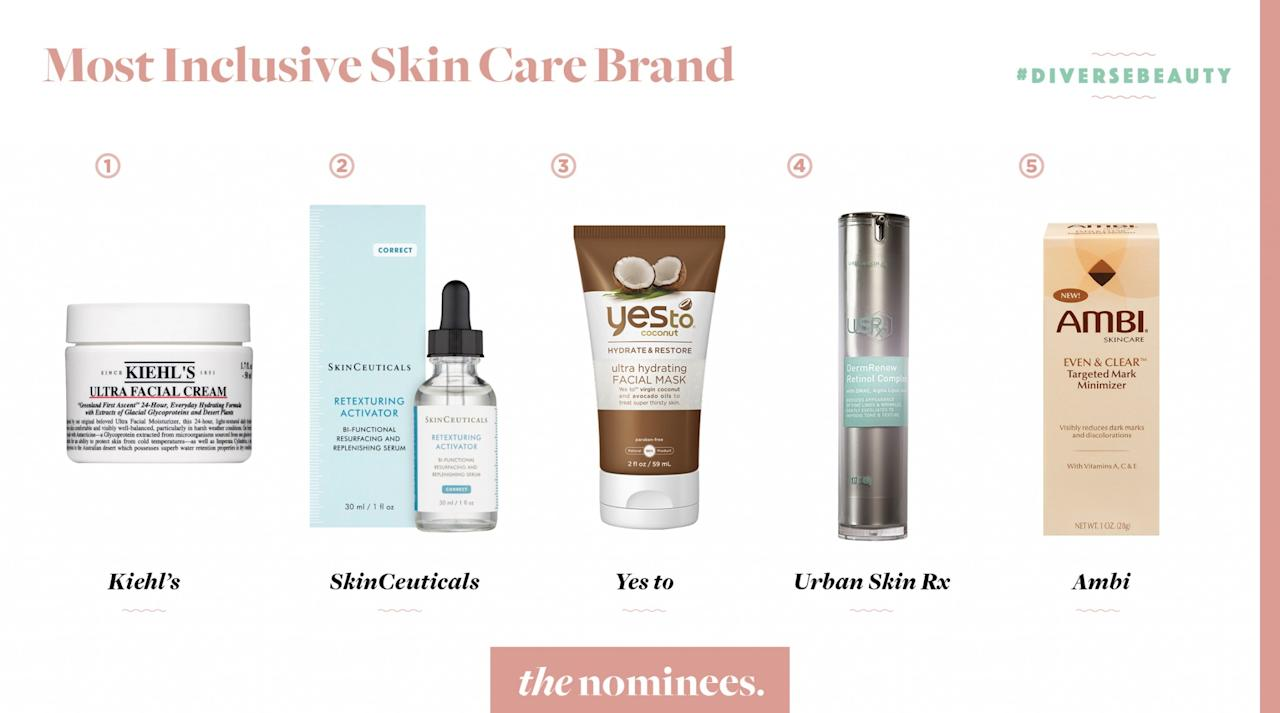 <p>Kiehl's, SkinCeuticals, Yes to, Urban Skin Rx, and Ambi. </p>