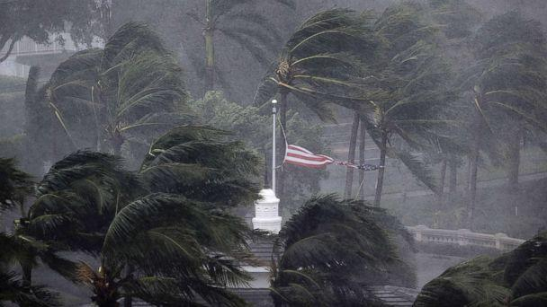 PHOTO: An American flag is torn as Hurricane Irma passes through Naples, Fla., Sept. 10, 2017. (David Goldman/AP)