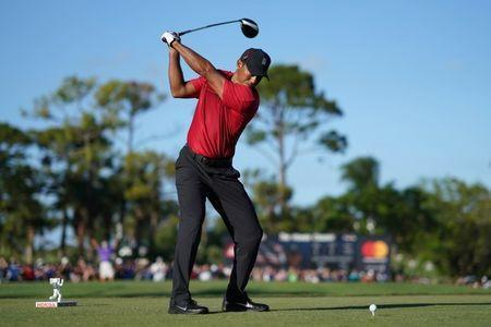 Feb 25, 2018; Palm Beach Gardens, FL, USA; Tiger Woods tees off on the 18th during the final round of The Honda Classic golf tournament at PGA National (Champion). Jasen Vinlove-USA TODAY Sports