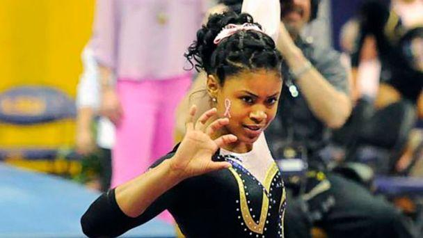 PHOTO: In this March 8, 2013, photo provided by LSU Student Media, LSU senior Britney Taylor finishes her floor routine at a gymnastics event in Baton Rouge, La. (Lauren Duhon/LSU Student Media via AP)