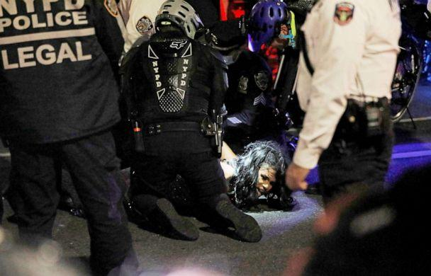 PHOTO: New York Police Department officers detain a protester during a Black Lives Matter demonstration in the Manhattan borough of New York, Nov. 5, 2020. (Andrew Kelly/Reuters, FILE)
