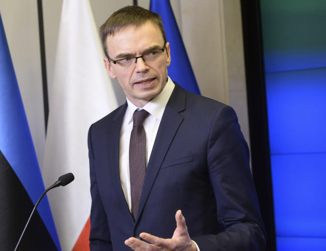 Estonian Foreign Minister Sven Mikser at a press conference in Warsaw on Feb. 9. (Photo: Alik Keplicz/AP)
