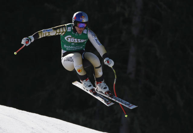 SCHLADMING, AUSTRIA - MARCH 14: (FRANCE OUT) Erik Guay of Canada competes during the Audi FIS Alpine Ski World Cup Men's Downhill on March 14, 2012 in Schladming, Austria. (Photo by Alexis Boichard/Agence Zoom/Getty Images)