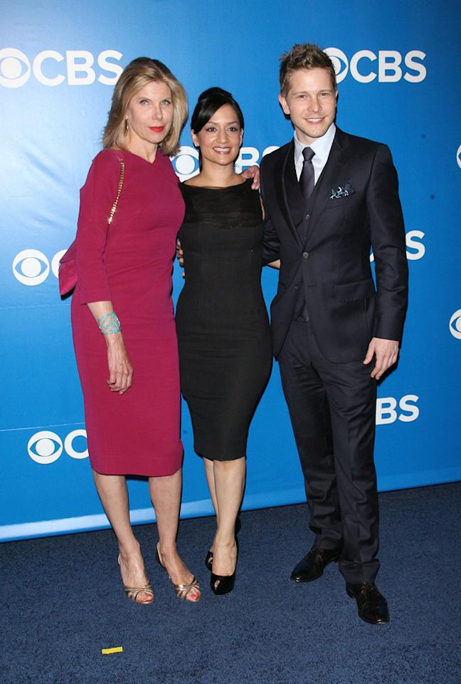 "Christine Baranski, Archie Panjabi, and Matt Czuchry (""The Good Wife"") attend CBS's 2012 Upfront Presentation on May 16, 2012 in New York City."