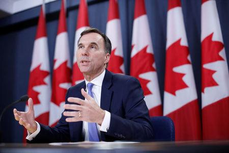 Canada's Finance Minister Bill Morneau speaks during a news conference in Ottawa