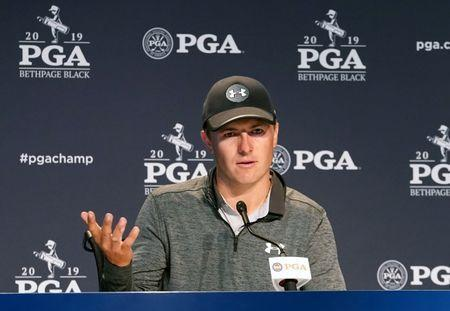 May 17, 2019; Bethpage, NY, USA; Jordan Spieth addresses the media during a press conference after the second round of the PGA Championship golf tournament at Bethpage State Park - Black Course. Mandatory Credit: Angie Walton-USA TODAY Sports