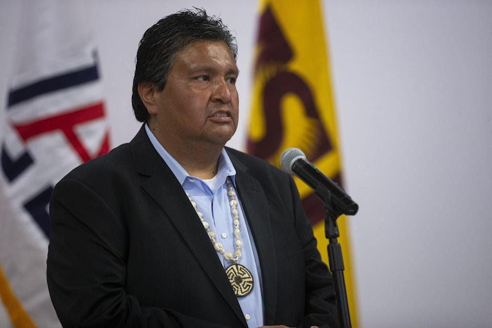 Legislative Chairman Timothy Joaquin Gu Achi speaks during a news conference regarding the Tohono O'odham Nation's $2 million contribution to support COVID-19 research efforts at the University of Arizona and Arizona State University.