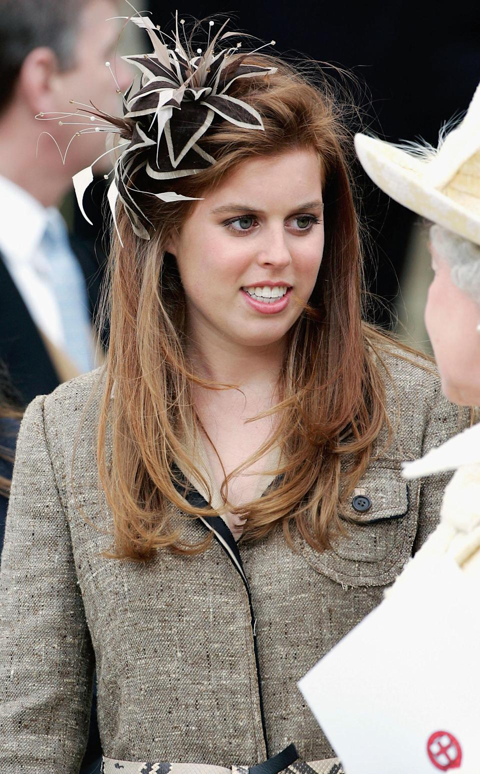 """<div class=""""caption-credit"""">Photo by: Tim Graham/Getty Images</div>Princess Beatrice, the daughter of Prince Andrew and the Duchess of York, as well as a popular style maven, is seen here at Windsor Castle at age 17. <br>"""