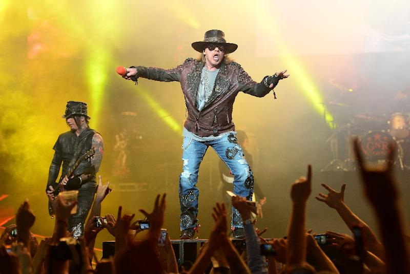 Axl Rose of Guns N' Roses performs at The Joint inside the Hard Rock Hotel & Casino in Las Vegas in 2014