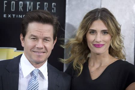 """Actor Mark Wahlberg and wife Rhea Durham arrive for the premiere of the movie """"Transformers: Age of Extinction"""" in New York"""