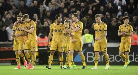 Tottenham players celebrates after the match