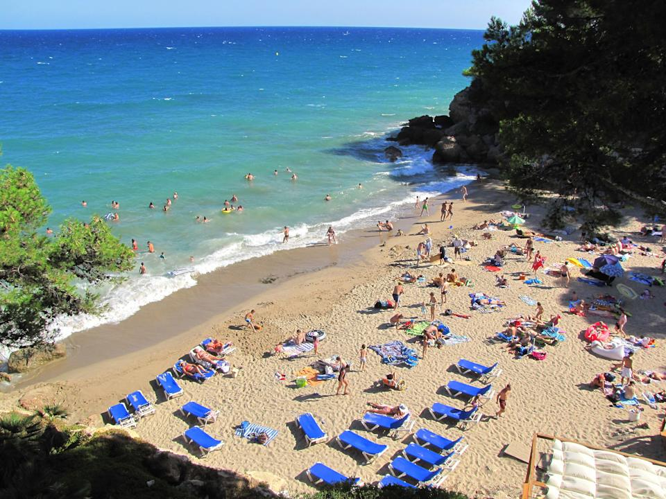 High Angle View Of People At Costa Daurada Beach