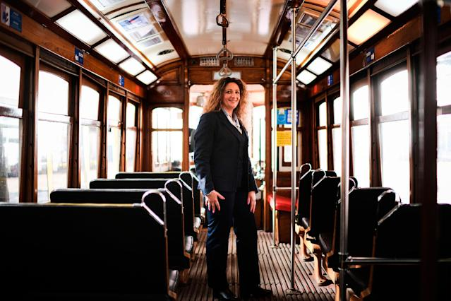 <p>Ana Cristina, 44, a tram driver for 20 years, poses for a portrait inside a tram in Lisbon, Spain, on February 28, 2018. (Photo: Patricia de Melo Moreira/AFP/Getty Images) </p>