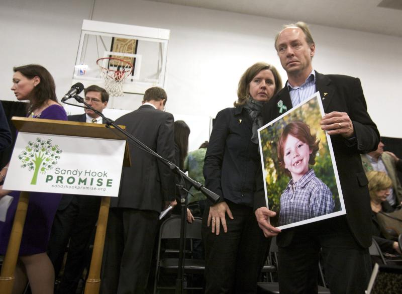 Mark and Jackie Barden leave the stage following the launch of The Sandy Hook Promise, a non-profit created in response to the shooting in Newtown in this file photo