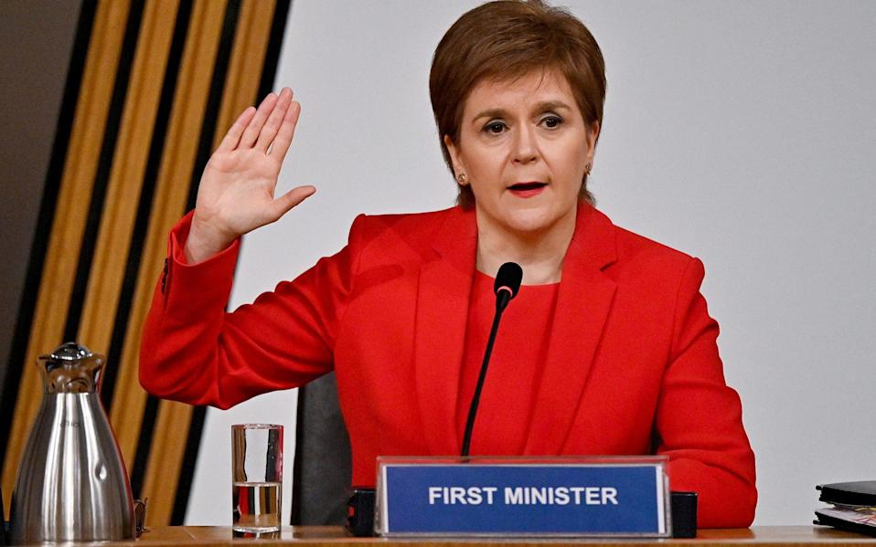 Nicola Sturgeon appears at inquiry into the Committee on the Scottish Government Handling of Harassment Complaints against former FM Alex Salmond in Edinburgh - Pool/REUTERS