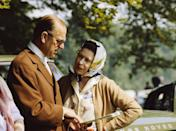 <p>The Queen and Prince Philip chatting during the Royal Windsor Horse Show on the grounds of Windsor Castle in May 1982.</p>