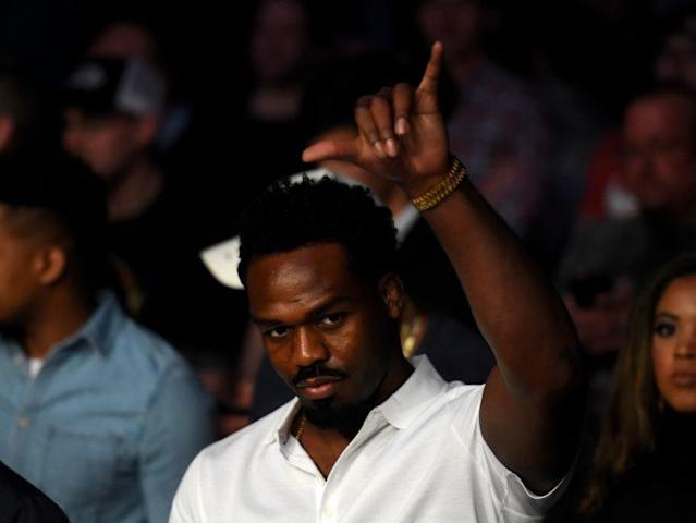 Jon Jones gestures during the UFC 210 card in Buffalo, N.Y., on Saturday. (Getty Images)