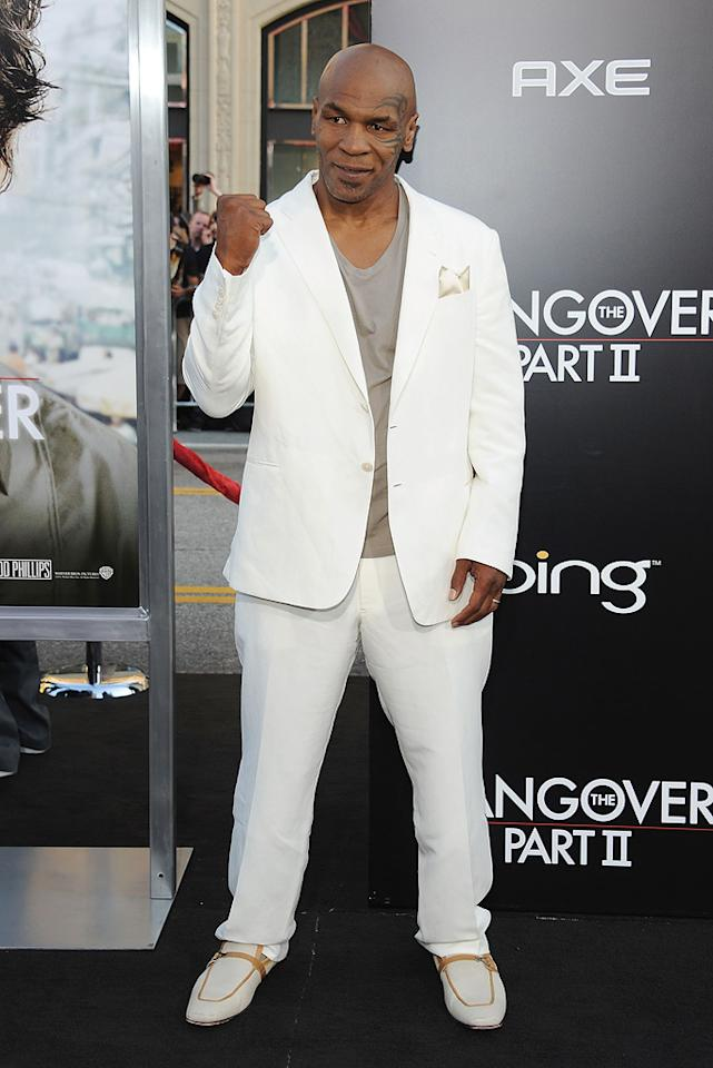 """<a href=""""http://movies.yahoo.com/movie/contributor/1800034966"""">Mike Tyson</a> attends the Los Angeles premiere of <a href=""""http://movies.yahoo.com/movie/1810187722/info"""">The Hangover Part II</a> on May 19, 2011."""