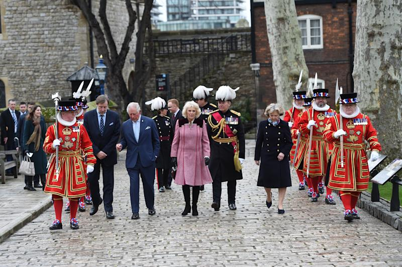 LONDON, ENGLAND - FEBRUARY 13: Prince Charles, Prince of Wales and Camilla, Duchess of Cornwall visit The Tower of London to mark 535 years since the creation of Yeoman Warders (Beefeaters) and join a reception with VisitBritain/ VisitEngland to celebrate 50 years of the British Tourist Authority on February 13, 2020 in London, England. (Photo by Eddie Mulholland - WPA Pool/Getty Images)