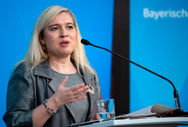 05 May 2020, Bavaria, Munich: Melanie Huml (CSU), Minister of Health of Bavaria, will participate in a press conference after a meeting of the Bavarian cabinet. The focus of the meeting was the Corona crisis. Photo: Sven Hoppe/dpa (Photo by Sven Hoppe/picture alliance via Getty Images)