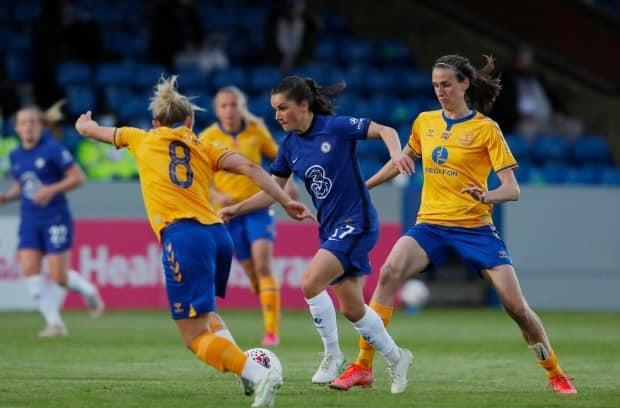 Since joining Chelsea earlier in the year, Jessie Fleming, centre, has helped the Blues clinch the Women's Super League title as well as reach the final of the Women's Champions League.