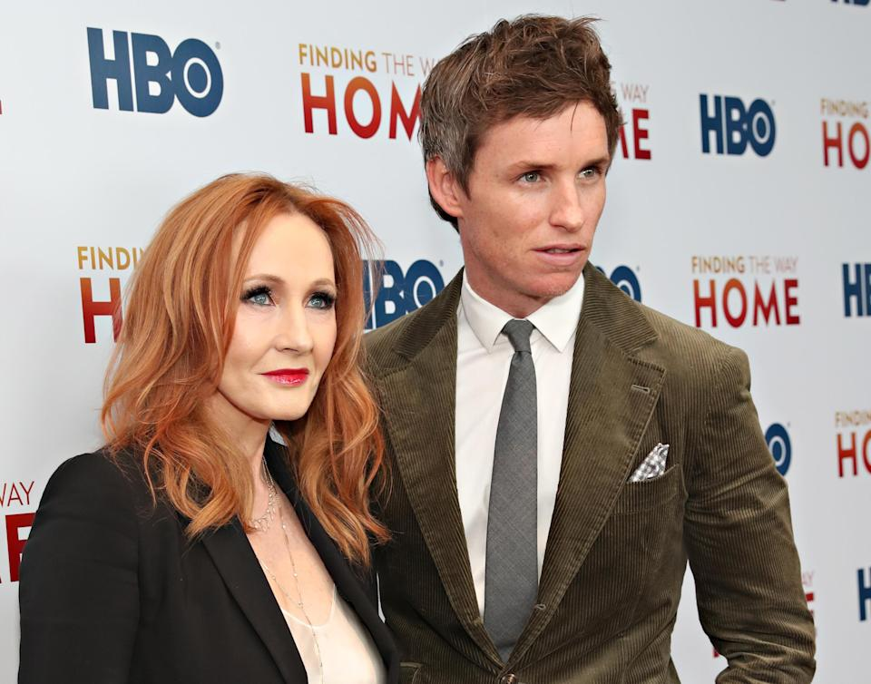"""J.K. Rowling and Eddie Redmayne attend HBO's """"Finding The Way Home"""" World Premiere at Hudson Yards on December 11, 2019 in New York City. (Photo by Cindy Ord/WireImage,)"""