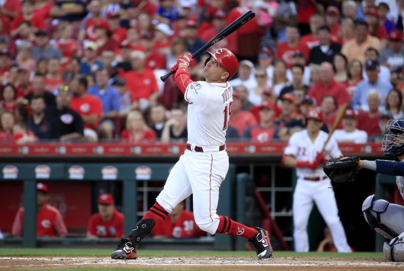 CINCINNATI, OHIO - JUNE 18: Joey Votto #19 of the Cincinnati Reds hits a double in the first inning against the Houston Astros at Great American Ball Park on June 18, 2019 in Cincinnati, Ohio. (Photo by Andy Lyons/Getty Images)