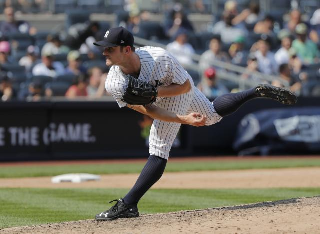"A two-year deal with the <a class=""link rapid-noclick-resp"" href=""/mlb/teams/phi"" data-ylk=""slk:Phillies"">Phillies</a> means David Robertson is heading to the NL for the first time. (AP Photo/Julie Jacobson)"