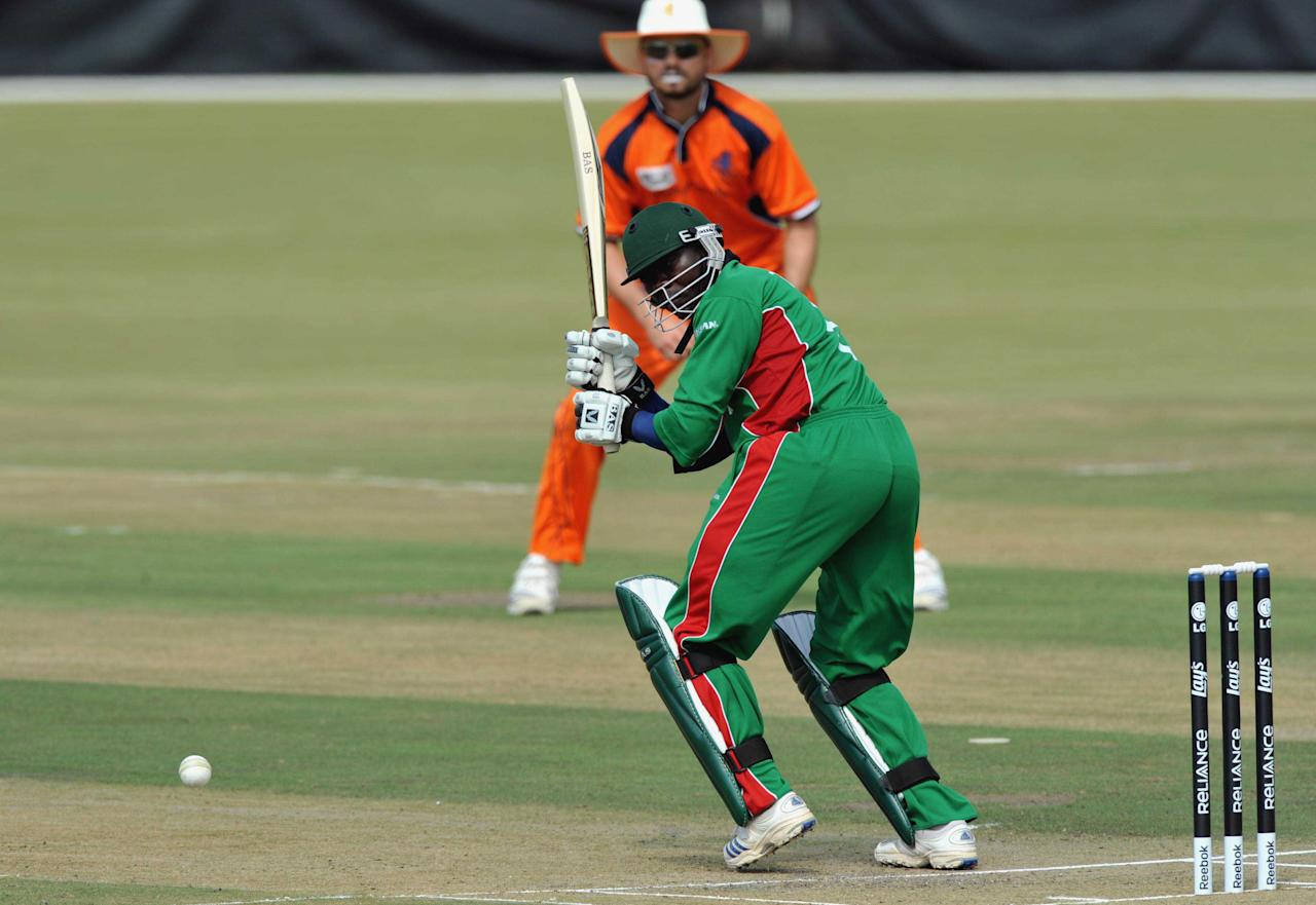 Steve Tikolo of Kenya plays to the onside during the ICC Mens Cricket World Cup qualifier match between Kenya and Netherlands at Senwes Park on April 01, 2009 in Potchefstroom, South Africa. (Photo by Duif du Toit/Gallo Images/Getty IMages)