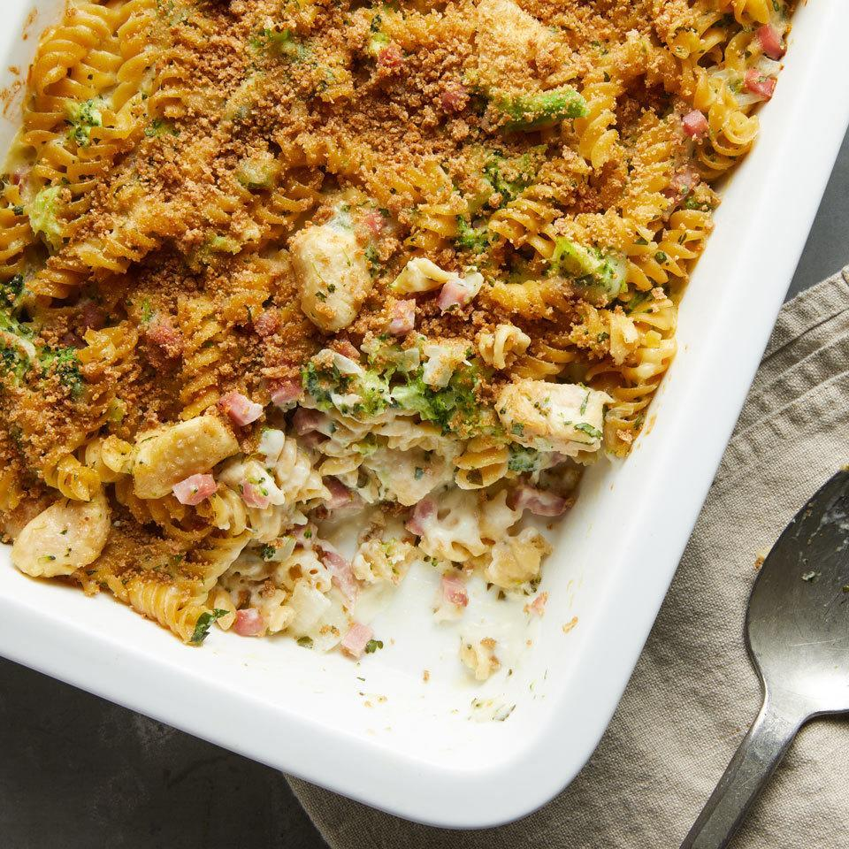<p>All the delicious flavors of your favorite chicken Cordon Bleu--salty ham, melty cheese, tangy mustard--with no tricky assembly required. This healthy comfort food recipe would be perfect for a potluck.</p>