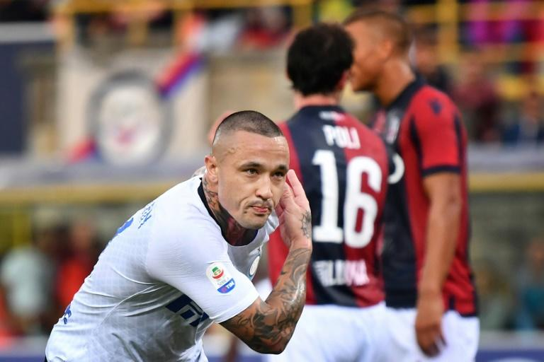 """Take a bow"": Radja Nainggolan celebrates after scoring on his debut for Inter Milan"