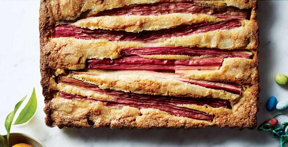 """It might feel like you're beating the batter for a long time, but that's what gives this cake an airy lift. Stay with it! <a href=""""https://www.bonappetit.com/recipe/rhubarb-almond-cake?mbid=synd_yahoo_rss"""" rel=""""nofollow noopener"""" target=""""_blank"""" data-ylk=""""slk:See recipe."""" class=""""link rapid-noclick-resp"""">See recipe.</a>"""