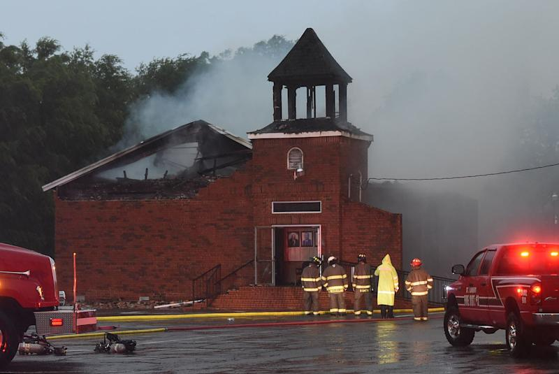 Mt. Pleasant Baptist Church in St. Landry Parish damaged in a fire Thursday.