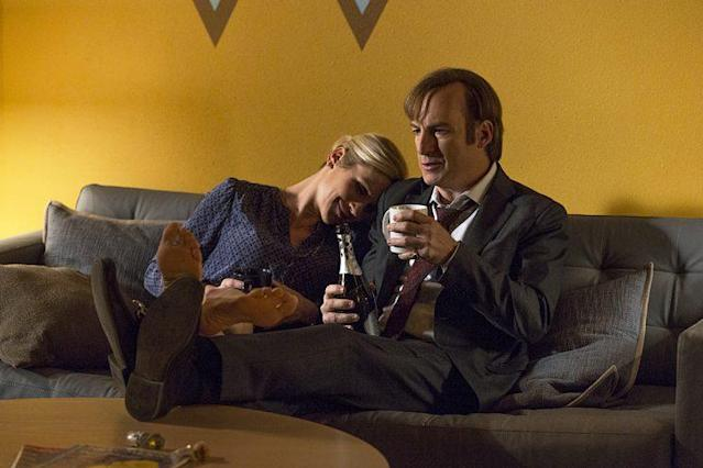 Rhea Seehorn as Kim Wexler and Bob Odenkirk as Jimmy McGill in AMC's <em>Better Call Saul</em>. (Photo: Michele K. Short/AMC/Sony Pictures Television)