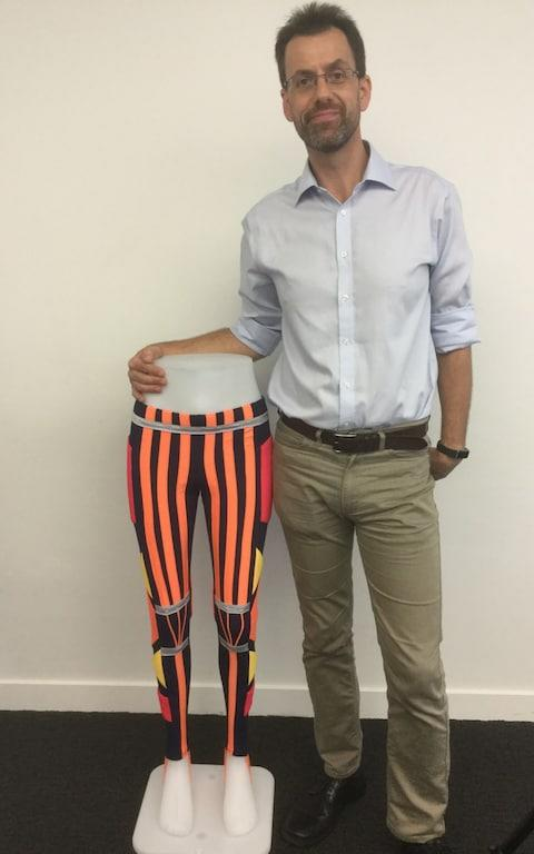 Prof Jonthan Rossiter, Prof of Robotics and Engineering at the University of Bristol, with the trousers