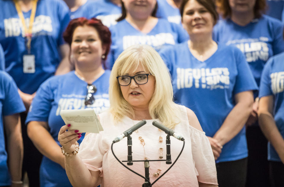 Singer and TV presenter Linda Nolan introduces Hull and East Yorkshire Hospitals NHS Staff Choir during a rehearsal ahead of an event to mark 70th anniversary of the NHS at York Minster.