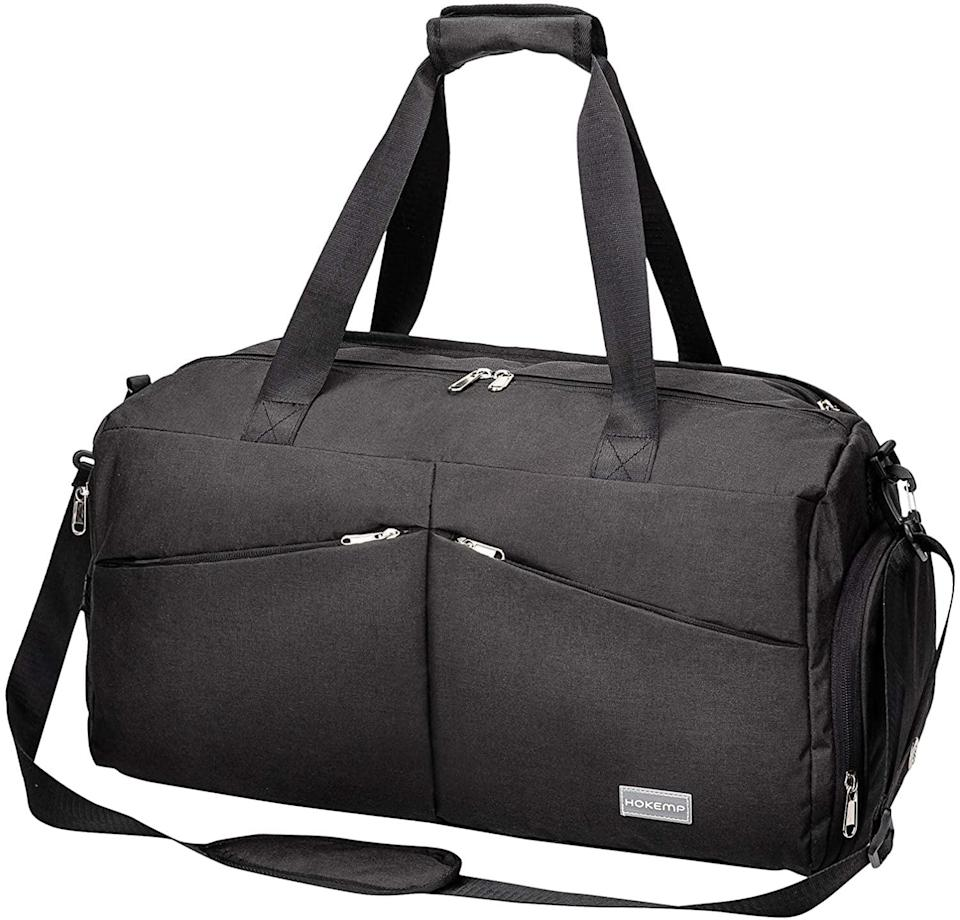 <p>With a wet/dry compartment and a shoe section, the <span>HOKEMP Sports Gym Bag Travel Duffel</span> ($26) is a sleek and chic gym bag everyone can rock.</p>