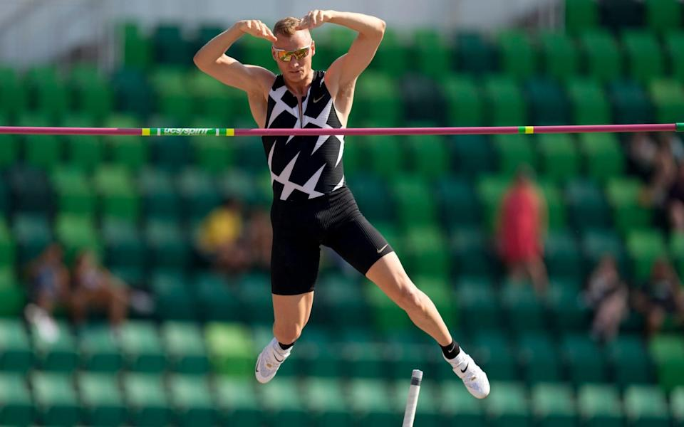 Sam Kendricks competes during the finals of the men's pole vault at the U.S. Olympic Track and Field Trials in Eugene, Oregon on 21 June 2021 - Charlie Riedel/AP