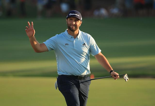 """<h1 class=""""title"""">DP World Tour Championship Dubai - Day Three</h1> <div class=""""caption""""> DUBAI, UNITED ARAB EMIRATES - NOVEMBER 23: Jon Rahm of Spain waves to the crowd on the 18th hole during Day Three of the DP World Tour Championship Dubai at Jumeirah Golf Estates on November 23, 2019 in Dubai, United Arab Emirates. (Photo by Andrew Redington/Getty Images) </div> <cite class=""""credit"""">Andrew Redington</cite>"""