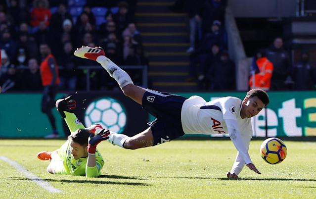 "Soccer Football - Premier League - Crystal Palace vs Tottenham Hotspur - Selhurst Park, London, Britain - February 25, 2018 Tottenham's Dele Alli is challenged by Crystal Palace's Wayne Hennessey Action Images via Reuters/Paul Childs EDITORIAL USE ONLY. No use with unauthorized audio, video, data, fixture lists, club/league logos or ""live"" services. Online in-match use limited to 75 images, no video emulation. No use in betting, games or single club/league/player publications. Please contact your account representative for further details."