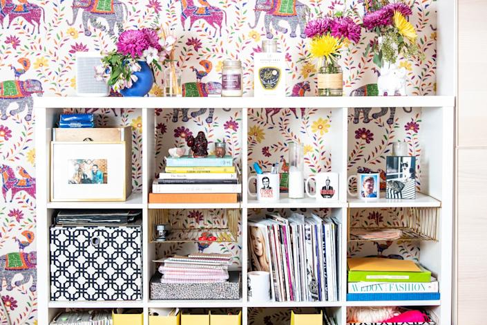 """A stylish bookshelf in the garage. <span class=""""copyright"""">(Mariah Tauger / Los Angeles Times)</span>"""