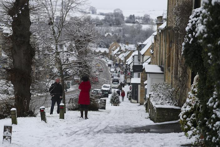 Overnight snow in Burford, West Oxfordshire. (PA Images via Getty Images)