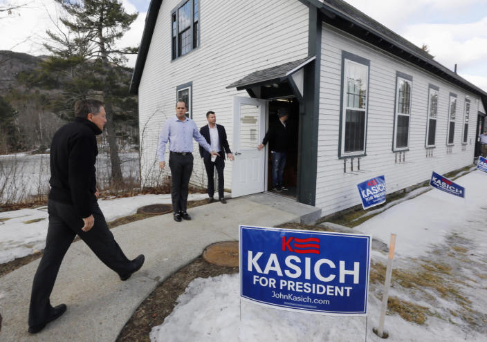 <p>Republican presidential candidate, Ohio Gov. John Kasich, arrives for a campaign stop, Tuesday, Feb. 2, 2016, in Newbury, N.H. <i>(Photo: Jim Cole/AP)</i></p>
