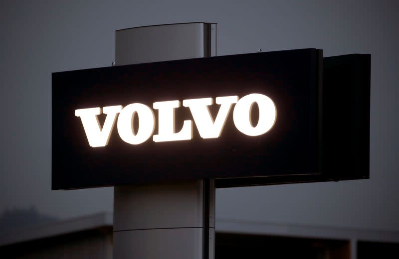 Logo of Swedish automobile manufacturer Volvo is seen at Stierli Automobile AG company in St. Erhard